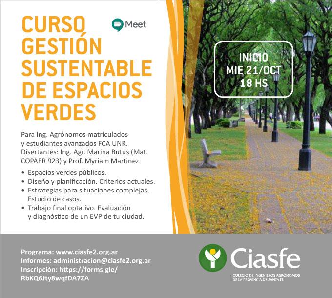 Curso Gestión sustentable de espacios verdes